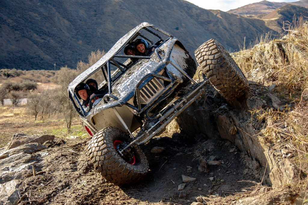 Off-road adventurers enjoying a thrilling drive