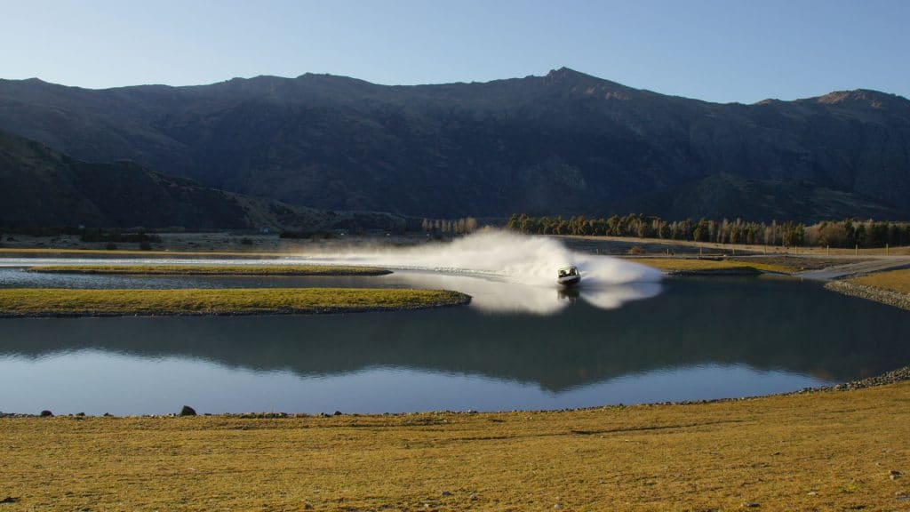 Jet sprint boat in action